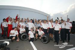 Bridgestone team members celebrate victory