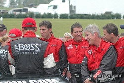 Race winners Butch Leitzinger and Elliott Forbes-Robinson celebrate with the Howard - Boss Motorsports crew
