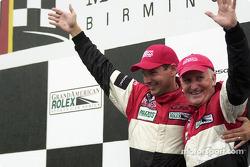 Podium: race winners Butch Leitzinger and Elliott Forbes-Robinson celebrate