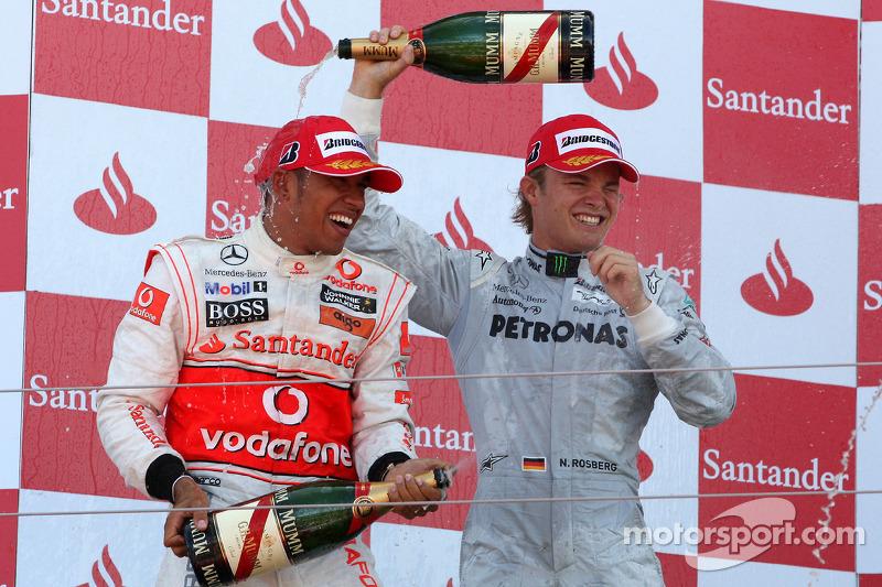 Podium: 2de Lewis Hamilton, McLaren Mercedes, 3de Nico Rosberg, Mercedes GP
