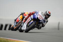 Jorge Lorenzo, Fiat Yamaha Team en Dani Pedrosa, Repsol Honda Team, strijden om de leiding