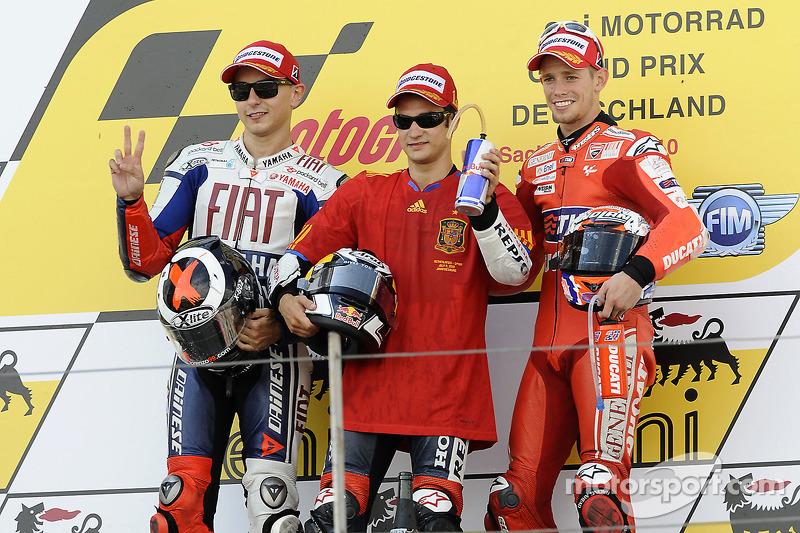2010: 1. Dani Pedrosa, 2. Jorge Lorenzo, 3. Casey Stoner