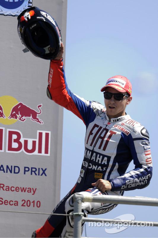 Podium: race winnaar Jorge Lorenzo, Fiat Yamaha Team