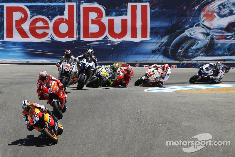 Dani Pedrosa, Repsol Honda Team rijdt voor Casey Stoner, Ducati Marlboro Team en Jorge Lorenzo, Fiat