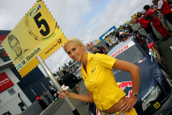 Grid girl of Mattias Ekström, Audi Sport Team Abt Audi A4 DTM