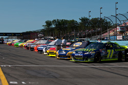 Sprint Cup cars line up for qualifying