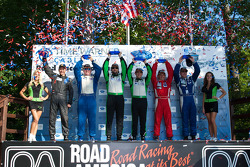GTC podium: class winners Timothy Pappas and Jeroen Bleekemolen, second place Robert Rodriquez and Galen Bieker, third place Shane Lewis and Vic Rice