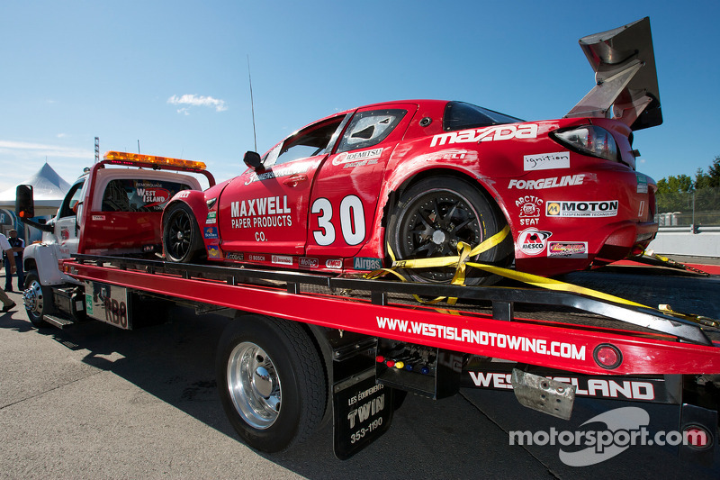 Crash: #30 Racers Edge Motorsports Mazda RX-8