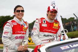 Katherine Legge, Audi Sport Team Rosberg, Audi A4 DTM en Markus Winkelhock, Audi Sport Team Rosberg, Audi A4 DTM