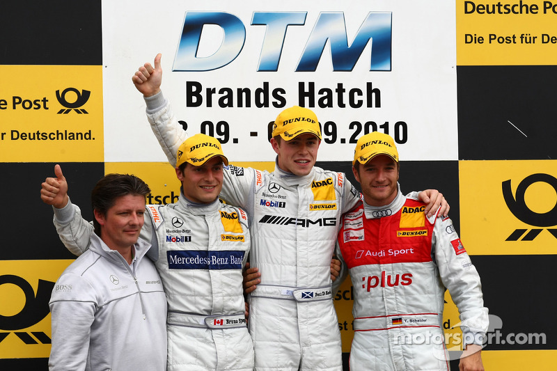Podium: race winnaar Paul di Resta, Team HWA AMG Mercedes, 2de Bruno Spengler, Team HWA AMG Mercedes, 3de Timo Scheider, Audi Sport Team Abt