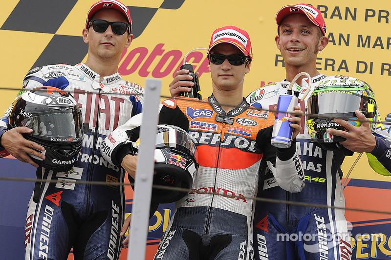 Podium: winnaar Dani Pedrosa, Repsol Honda Team, 2de Jorge Lorenzo, Fiat Yamaha Team, 3de Valentino Rossi, Fiat Yamaha Team