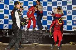 ST podium: class winners Ian Baas and Aaron Povoledo, second place Sarah Cattaneo and Owen Trinkler, third place Lawson Aschenbach and David Thilenius celebrate with champagne