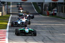 Robert Wickens leads Roberto Merhi, Mirko Bortolotti and the field at the start of the race