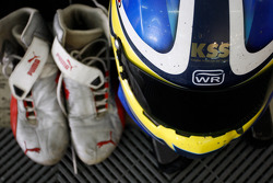 The boots and helmet of Jack Clarke