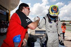 2010 Formula Two Champion Dean Stoneman celebrates in parc ferme