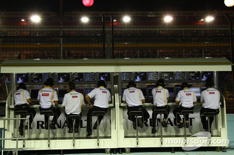 Renault team op de pitmuur