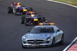 Safety car on track after the start crash