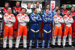 V8 Supercars drivers line up during driver introductions for the Bathurst 1000