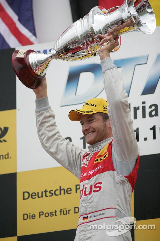 Podium: race winnaar Timo Scheider, Audi Sport Team Abt Audi A4 DTM