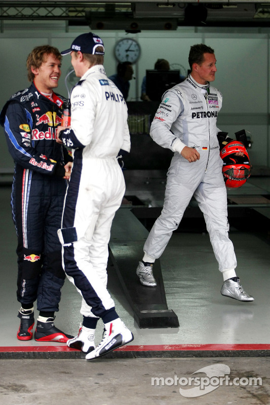 Sebastian Vettel, Red Bull Racing, polezitter Nico Hulkenberg, Williams F1 Team en Michael Schumache