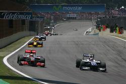 Lewis Hamilton, McLaren Mercedes and Nico Hulkenberg, Williams F1 Team