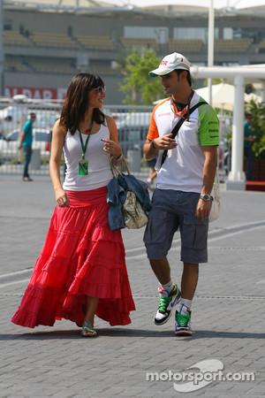 Vitantonio Liuzzi, Force India F1 test driver, with his girlfriend Francesca Caldarell