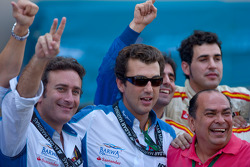 El equipo Barwa Addax celebra Sergio Pérez