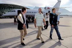 Team principal Christian Horner, chief technical officer Adrian Newey and Sebastian Vettel