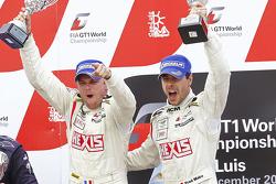 Podium: race winners Frédéric Makowiecki and Yann Clairay