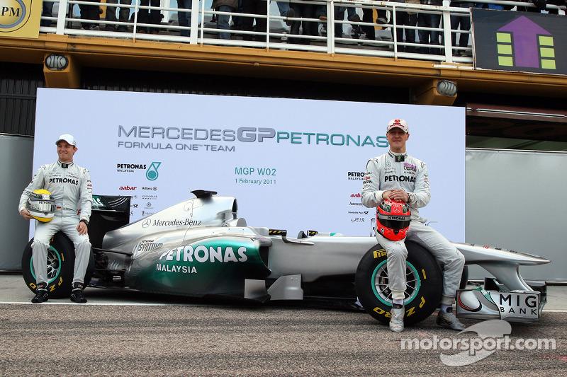Nico Rosberg, Mercedes GP F1 Team and Michael Schumacher, Mercedes GP F1 Team