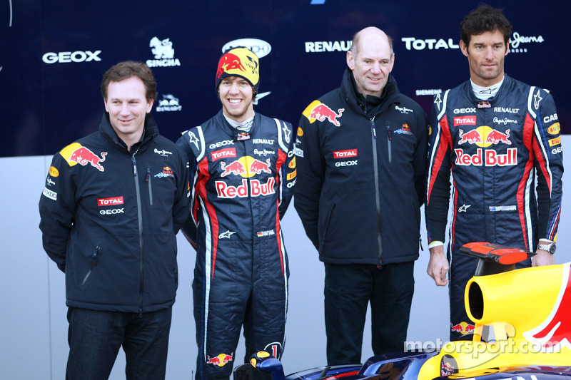Christian Horner, Red Bull Racing, Sporting Director with Sebastian Vettel, Red Bull Racing, Adrian Newey, Red Bull Racing, Technical Operations Director and Mark Webber, Red Bull Racing