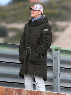 Michael Schumacher, Mercedes GP F1 Team goes trackside to watch the cars