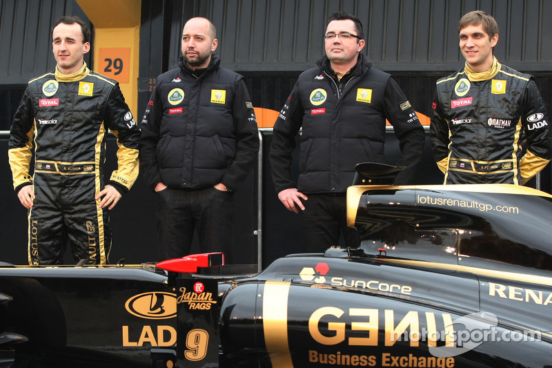 Robert Kubica, Lotus Renault GP, Gerard Lopez, Lotus Renault GP owner, Eric Boullier, Team Principal, Lotus Renault GP and Vitaly Petrov, Renault F1 Team