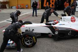 The first run of the C30 with Kamui Kobayashi, Sauber F1 Team
