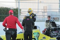 Morgan Lucas being congratulated after winning the Kragen O'Reilly Auto Parts NHRA Winternationals