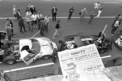 Ford GT-40 team in the Le Mans pits, 1966: Ken Miles and Denny Hulme (1) finished second; Bruce McLa