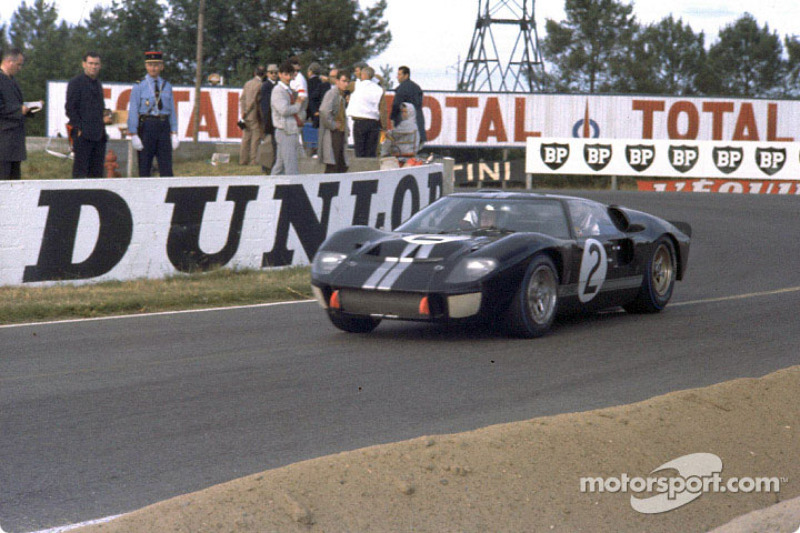 Ford's first win in the 24 Hours of Le Mans, 1966: the winning Ford GT-40 Mark II driven by Bruce McLaren and Chris Amon