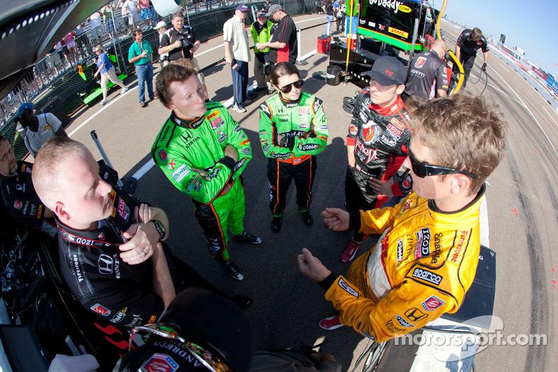 Mike Conway, Andretti Autosport, Danica Patrick, Andretti Autosport, Marco Andretti, Andretti Autosport and Ryan Hunter-Reay, Andretti Autosport