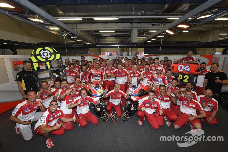 Race winner Andrea Iannone, Ducati Team, second place Andrea Dovizioso, Ducati Team and Ducati Team