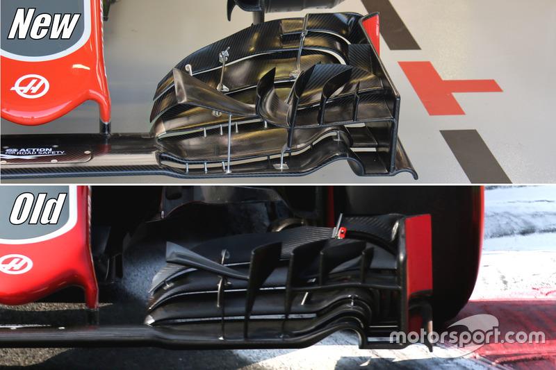 Haas F1 Team VF-16, comparación de ala delantera