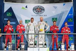 LM GTE Pro podium: first place Marco Sorensen, Nicki Thiim, Aston Martin Racing, second place Gianmaria Bruni, James Calado, AF Corse, third place Davide Rigon, Sam Bird, AF Corse