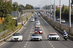 DTM Safety cars on the way to Budapest city
