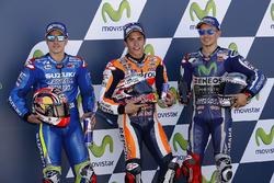 Polesitter Marc Marquez, Repsol Honda Team, tweede plaats Maverick Viñales, Team Suzuki Ecstar MotoGP, derde plaats Jorge Lorenzo, Yamaha Factory Racing