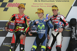Podium: Race winner Dani Pedrosa; second place Jorge Lorenzo; third place Casey Stoner