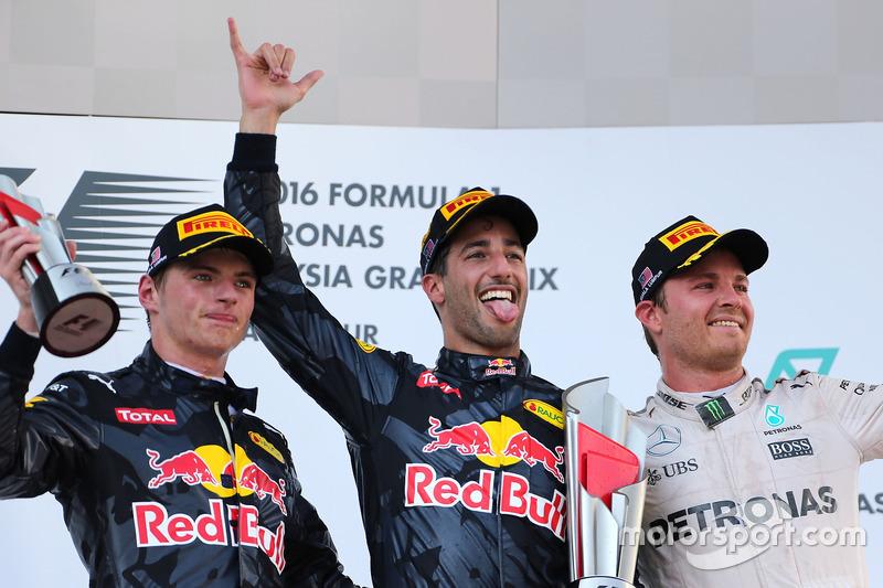 1. Daniel Ricciardo, 2. Max Verstappen, 3. Nico Rosberg