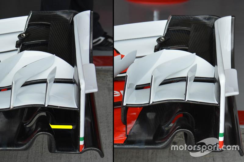Ferrari SF16-H, diferentes configuraciones de ala delantera