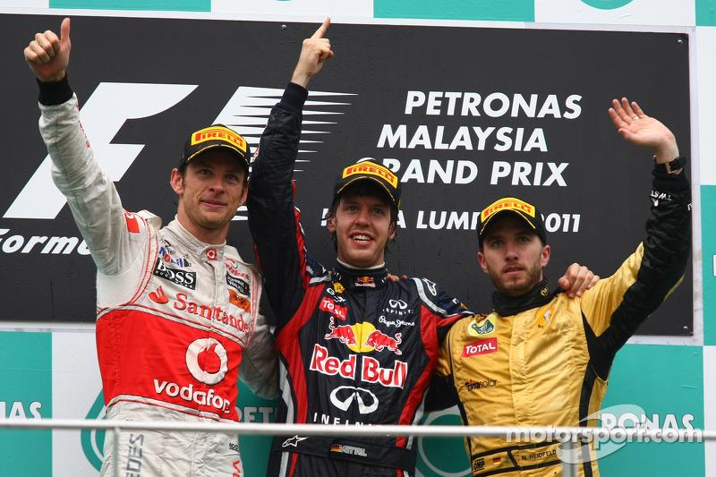 2011 : 1. Sebastian Vettel, 2. Jenson Button, 3. Nick Heidfeld