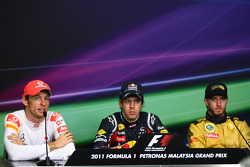 Post-race press conference: race winner Sebastian Vettel, Red Bull Racing, second place Jenson Button, McLaren Mercedes, third place Nick Heidfeld, Lotus Renault F1 Team