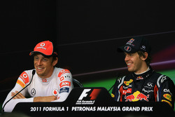 Post-race press conference: race winner Sebastian Vettel, Red Bull Racing, second place Jenson Button, McLaren Mercedes