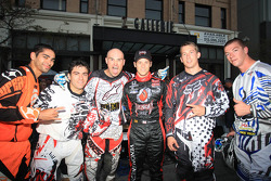 Marco Andretti with stunt show performers